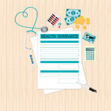 Top view of Health insurance form Life planning. Stock Photography