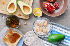 Top view of healthy breakfast on linen fabric royalty free stock photo