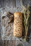 Top view of healthy ciabatta buns with sunflowers seeds. On wooden table royalty free stock photography