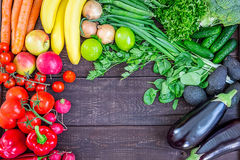 Top View of Healthy Eating Background with Colorful Fresh Organic Vegetables and Herbs, Healthy Food from Garden, Diet or Vegetari Stock Photo