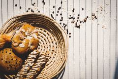 Top view of healthy eating and traditional bakery concept; fresh. Bread on the kitchen table with beverage at morning stock images
