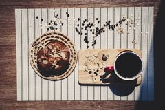 Top view of healthy eating and traditional bakery concept; fresh. Bread on the kitchen table with beverage at morning royalty free stock photography