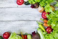 Top view of healthy food background with copy space. Healthy food concept with fresh vegetables royalty free stock photo