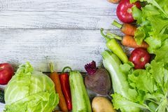 Top view of healthy food background with copy space. Healthy food concept with fresh vegetables stock photo