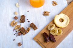 Healthy Food and Energetic Lifestyle Concept with Nuts and Fruit Stock Image