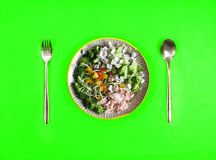 Top view of  the healthy food salad mixed of tuna and vegetable Royalty Free Stock Photo