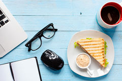 Top view of Healthy Sandwich toast on a wooden background Royalty Free Stock Photo