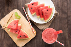 Top view healthy watermelon smoothie on a wood background Royalty Free Stock Photos