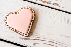 Top view of heart biscuit. royalty free stock photo