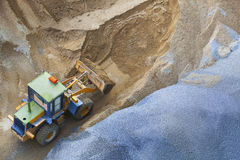 Top view of heavy machine working in construction site Stock Image