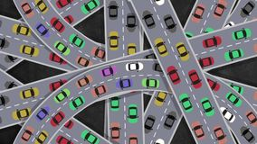 Top View on Heavy Traffic Cars Driving in Intersection in Rush Hour - Looping