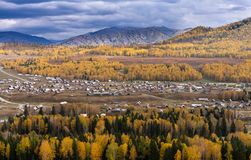Top view of Hemu village in colorful autumn, nature popular landscape of China royalty free stock photo