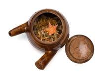 Top view herbal in enamel pot on white Royalty Free Stock Image