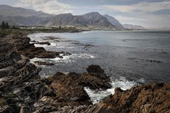 Top view of Hermanus coastal town, South Africa. Top view of Hermanus coastal town, an amazing whale spotting point, South Africa Stock Photos