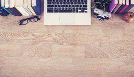 Top view hero header. Top view header of a home desk stock images