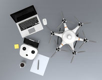 Top view hexacopter, remote controller, laptop computer. Royalty Free Stock Photography