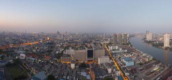 Top view from high building roof morning light of bangkok capita Stock Image