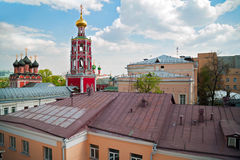 Top view of high Monastery of St Peter. Moscow, Russia. Top view of high Monastery of St Peter and the surrounding historic buildings. Moscow Stock Image