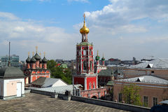 Top view of high Monastery of St Peter. Moscow. High Monastery of St Peter (Vysokopetrovsky Monastery) is located in the Bely Gorod of Moscow Royalty Free Stock Photography
