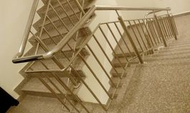 Emergency exit fire staircase  high rise building staircase with tred and risers stock images