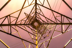 Top view high voltage pole Structural Steel Construction - Abstract style Royalty Free Stock Photo