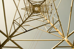 Top view high voltage pole Structural Steel Construction - Abstract style Stock Photos