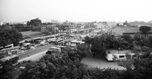Top view of a highway in Bangladesh. Vehicles running around a highway in Bangladesh unique editorial photo royalty free stock photos