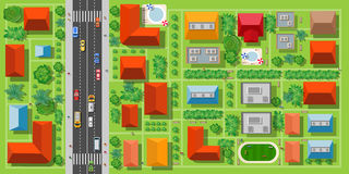 Top view of a highway. In the city with houses trees and streets Stock Images
