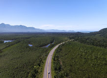 Top View of Highway in a Forest Stock Photos