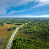 Top view on highway in forest Stock Photo