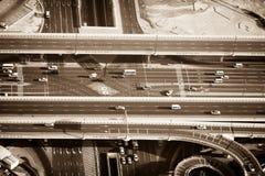 Top view of highway interchange in Dubai, UAE Stock Photo