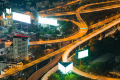 Top view, Highway intersection night view. Long exposure Royalty Free Stock Photo