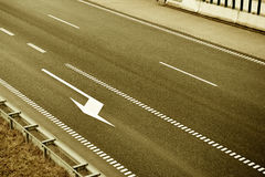 Top view of highway lanes. Old fashioned brown style. Stock Image