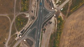 Top view on highway stock footage