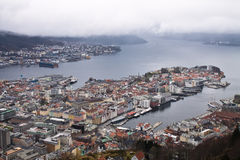 Top view from hill on city of bergen in cloudy sky, norway Royalty Free Stock Photos