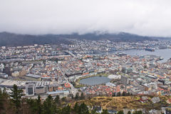 Top view from hill on city of bergen in cloudy sky, norway Royalty Free Stock Image