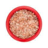Top view of Himalayan pink salt in a small bowl. Royalty Free Stock Image