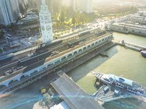 Top view historic Ferry Building in San Francisco, California, U. Aerial view historic Ferry Building and downtown financial district from Pier 14 waterfront San royalty free stock photography