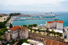 Top view of the historic part of town summer sunny Split, Croatia from Split Cathedral. Stock Photo
