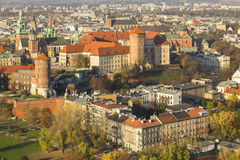 Top view of Historic royal Wawel castle in Cracow Royalty Free Stock Photos