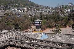 Top view of historic town of Lijiang Dayan Old Town. Royalty Free Stock Photography