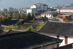 Top view of historic town of Lijiang Dayan Old Town. Royalty Free Stock Image