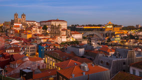 Top view on the historical centre of Porto at dusk Stock Photo