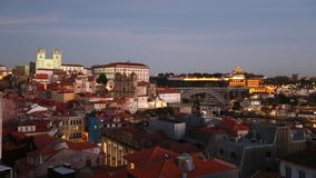 Top view on the historical centre of Porto at dusk stock footage