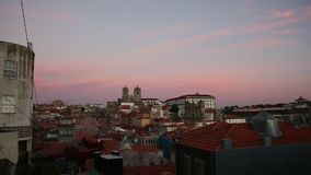 Top view on the historical centre of Porto at dusk, Portugal. Travel. stock video