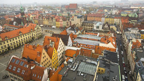 Top view of the historical centre of Wroclaw. Stock Photos