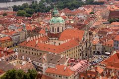 Top View of the historical districts of Prague. Historical streets and buildings covered by tiles stock photos