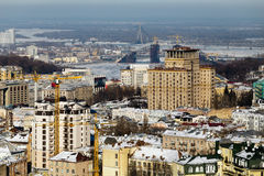Top view of the historical part of the city Kiev winter sunny day Royalty Free Stock Photography