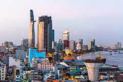 Top view of Ho Chi Minh City  in the evening. Royalty Free Stock Photo