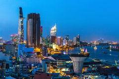 Top view of Ho Chi Minh City at night time, Vietnam. Travel. Royalty Free Stock Photos